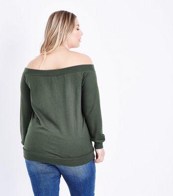 Curves Khaki Bardot Neck Sweatshirt New Look