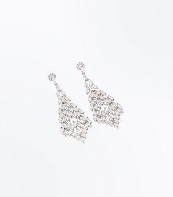 Silver Teardrop Gem Chandelier Earrings New Look