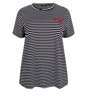Curves Black Stripe Heartbreaker Slogan T-Shirt New Look