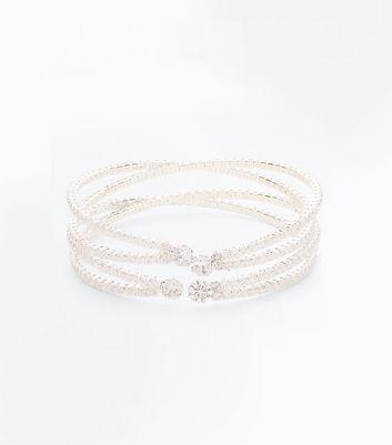 Silver Cubic Zirconia Embellished Cuff Bracelet New Look
