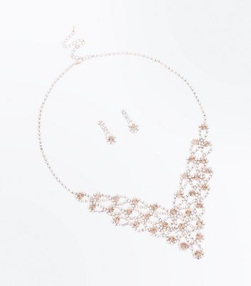 Rose Gold Gem Embellished Earrings and Necklace Set New Look