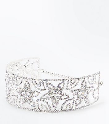Silver Star Diamanté Embellished Choker