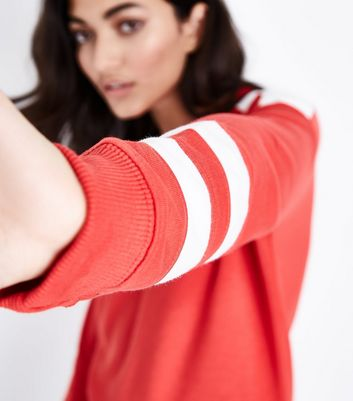 Red Colour Block Sleeve Sweatshirt New Look