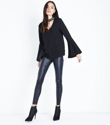 Tall Black Beaded Choker Neck Flare Sleeve Top New Look