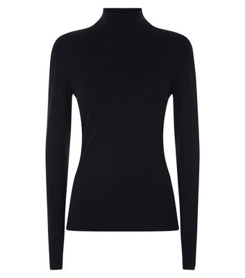 Tall Black Roll Neck Top New Look