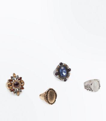 4 Pack Metallic Gem Embellished Vintage Rings New Look