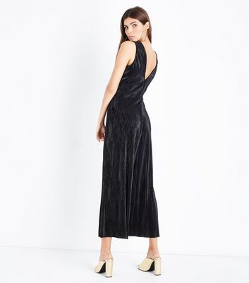 Tall Black Metallic Stripe Plisse Culotte Jumpsuit New Look