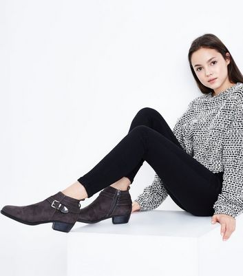 Teens Grey Suedette Buckle Trim Boots New Look