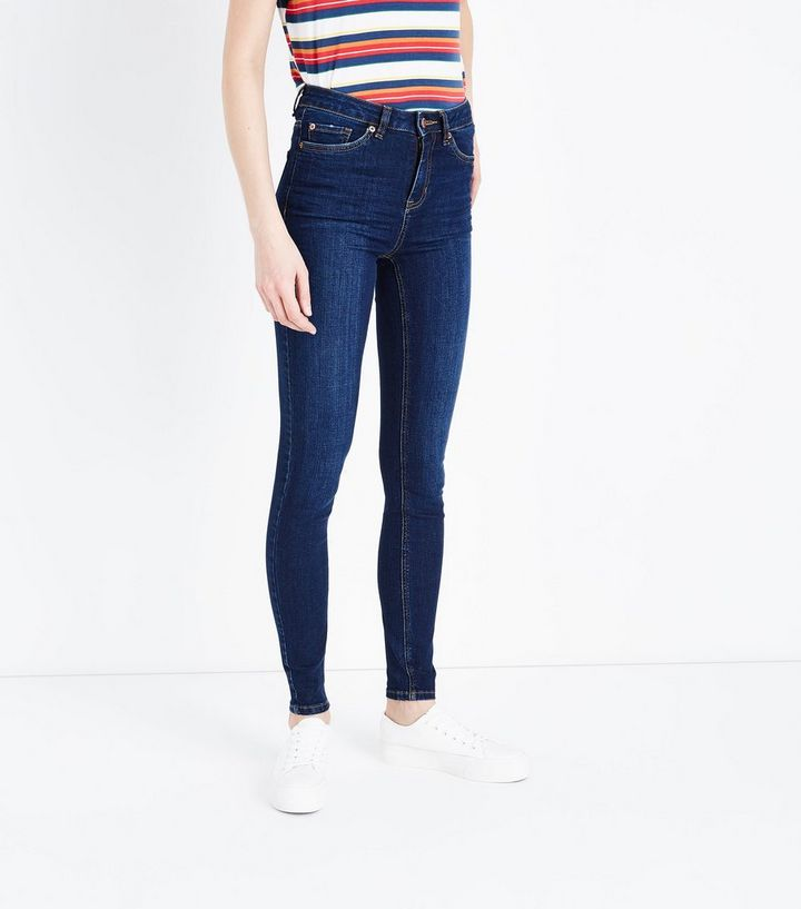 jenna blaue skinny jeans mit rinse waschung und muster new look - Jeans Mit Muster