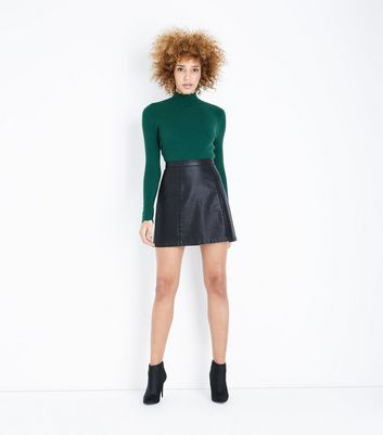 Dark Green Ribbed Scallop High Neck Jumper New Look