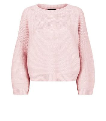 Shell Pink Wide Sleeve Jumper New Look