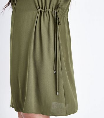 Curves Khaki Toggle Waist Shirt Dress New Look