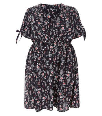 Curves Black Floral Tie Sleeve Wrap Dress New Look