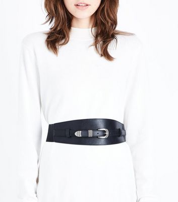 Black Western Buckle Waist Belt New Look
