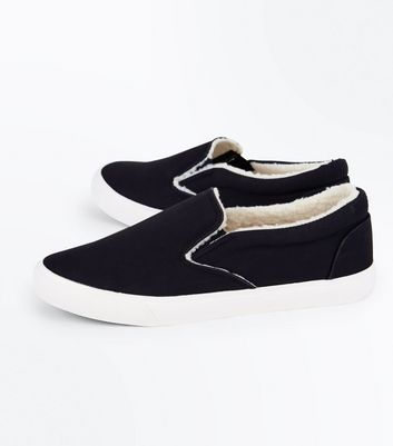 Black Faux Shearling Lined Slip On Trainers New Look