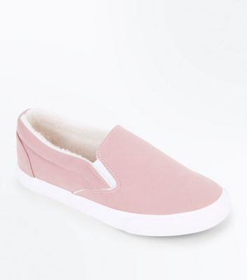Pink Faux Shearling Lined Slip On Trainers New Look
