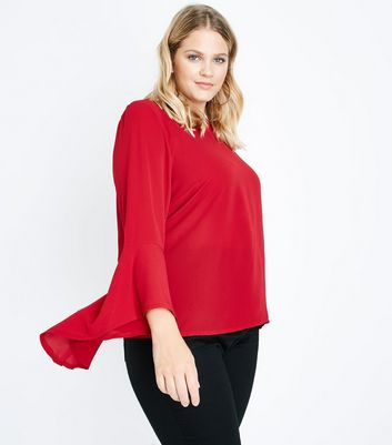 Curves Red Flare Sleeve Top New Look