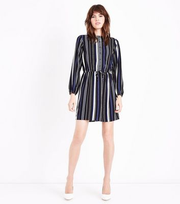 Black Stripe Balloon Sleeve Grandad Shirt Dress New Look