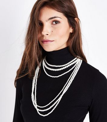 White Pearl Layered Necklace New Look
