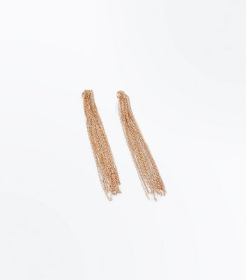 Gold Chain Tassel Drop Earrings New Look