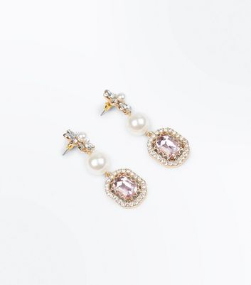 Gold Gem and Pearl Embellished Drop Earrings New Look