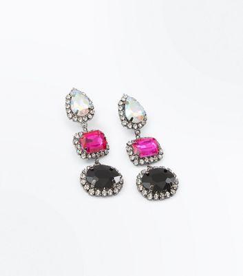 Multi Colour Gem Embellished Earrings New Look