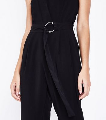Cameo Rose Black D Ring Waist Jumpsuit New Look