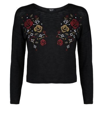 Teens Black Floral Cross Stitch Embroidered Jumper New Look