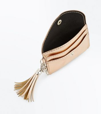 Rose Gold Tassel Key Ring Purse New Look