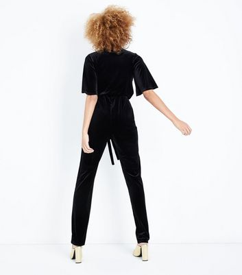 Tall Black Velvet Wrap Front Jumpsuit New Look