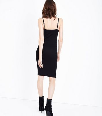 Cameo Rose Black Eyelet Lace Up Dress New Look