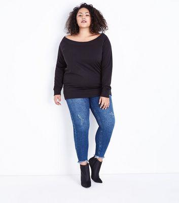 Curves Blue Distressed Fray Hem Skinny Jeans New Look
