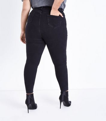 Curves Black Washed High Waist Skinny Jeans New Look