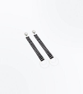 Black Stud Embellished Chain Drop Earriings New Look