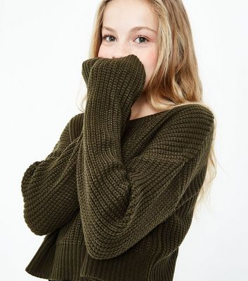 Teens Khaki Oversized Cropped Jumper New Look