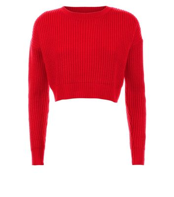 Teens Red Oversized Cropped Jumper New Look