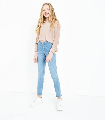 Teens Shell Pink Oversized Cropped Jumper New Look