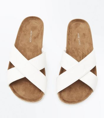 White Cross Strap Sliders New Look