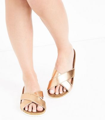 Rose Gold Cross Strap Sliders New Look