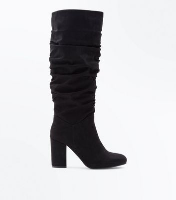 Black Suedette Heeled Slouch Knee High Boots