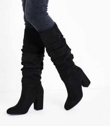 Black Suedette Heeled Slouch Knee High Boots New Look