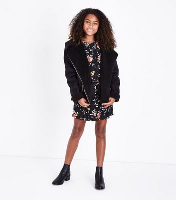 Teens Black Floral Embroidered Cut Out Trim Playsuit New Look