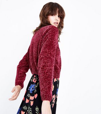Cameo Rose Burgundy Cable Knit Chenille Jumper New Look