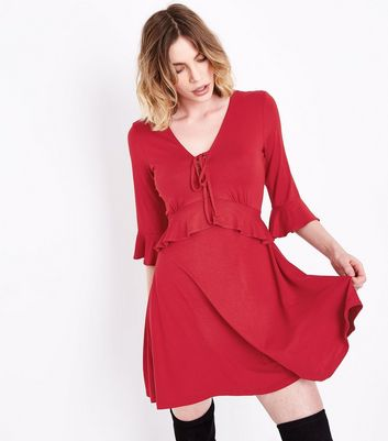 Red Lace Up Frill Trim Skater Dress New Look
