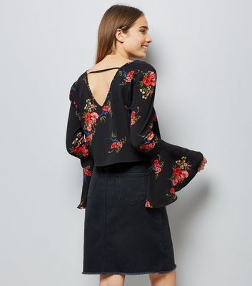 Cameo Rose Black Floral Print Flare Sleeve Top New Look