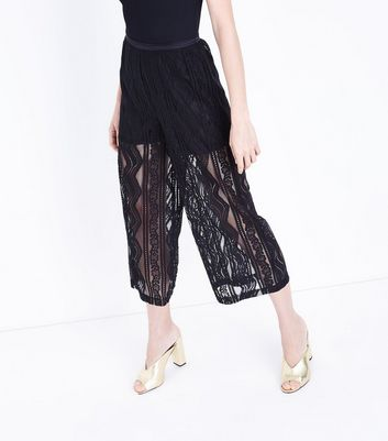 Cameo Rose Black Lace Culottes New Look