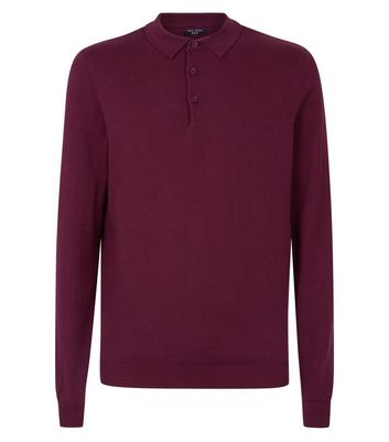 Burgundy Long Sleeve Polo Neck Shirt New Look