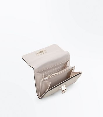 Pale Grey Flip Lock Front Purse New Look