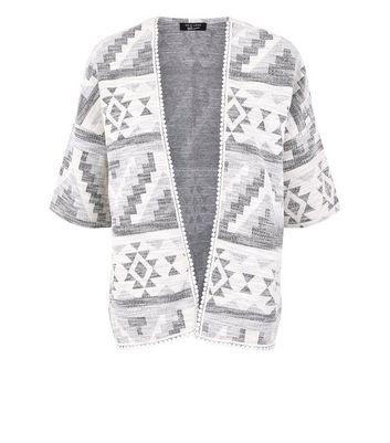 Teens White Aztec Kimono New Look