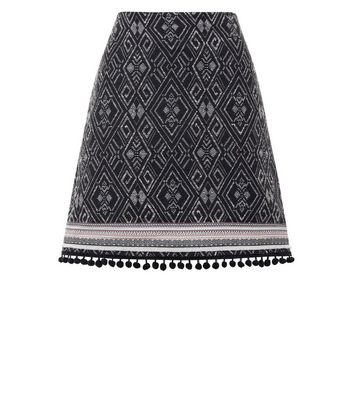 Black Jacquard Pom Pom Hem Mini Skirt New Look